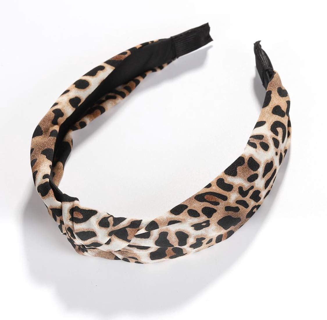 Leopard Print Top-knot Headband (Brown) by Somewhere Haute