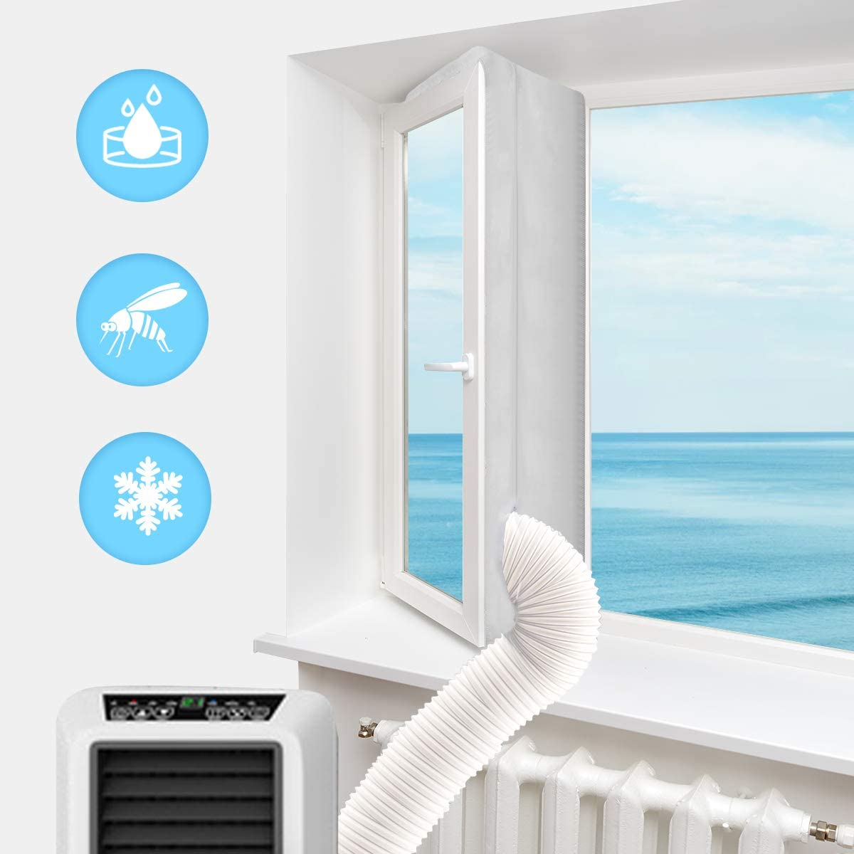 """Luxiv Portable Air Conditioner Window Kit, 158"""" Window Seal Kit for Portable Air-Conditioning with Zip and Adhesive Fastener White Airlock Sliding Window Seal Cloth for Mobile AC (118in/ 300cm)"""