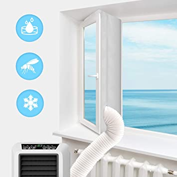Ac Unit Window Seal,airlock Window Seal for Mobile air-Conditioning,hoomee Window Seal for Portable Air Conditioner,Sealing AC with Zip and Adhesive Fastener,Best Way to Seal Tilted Window Tools & Home Improvement