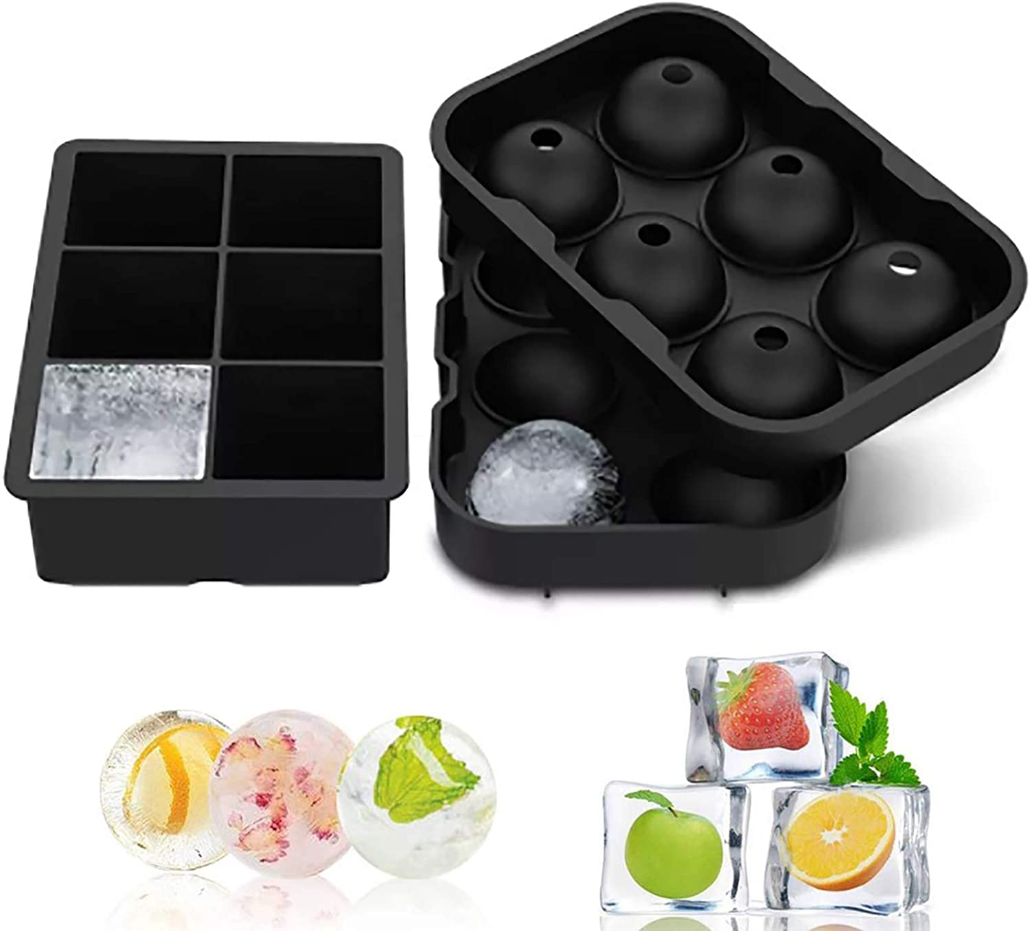 2 sets of ice cube trays with silicone Ice Cube Tray Silicone Cover 2 Set Reusable and BPA-free For whiskey Large 6 compartment square ice cube mold and 6 compartment spherical ice maker