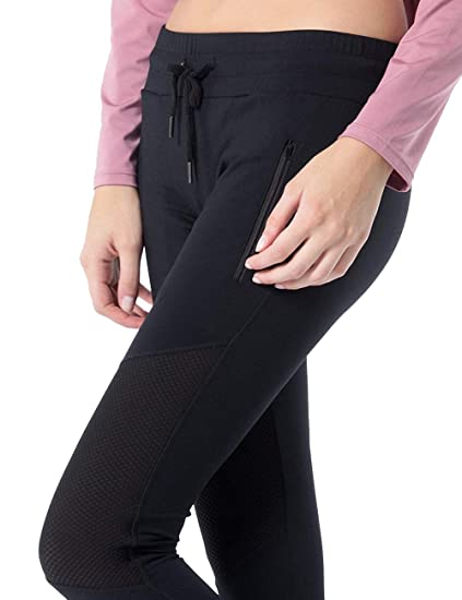 Yoga Pants Women, Mesh Splicing Stretch & Non See-Through & Dry Fit Workout Fitness Leggings Ankle Length & High Waist