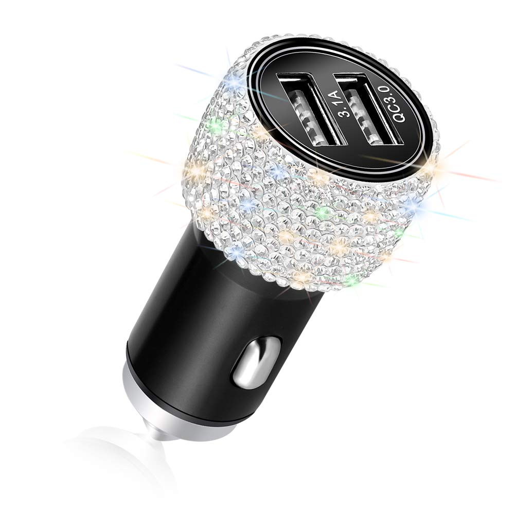Otostar Quick Charge 3.0 Car Charger Bling Car Accessories Crystal Diamond Dual USB Car Charger Adapter for iPhones Android Phones Red