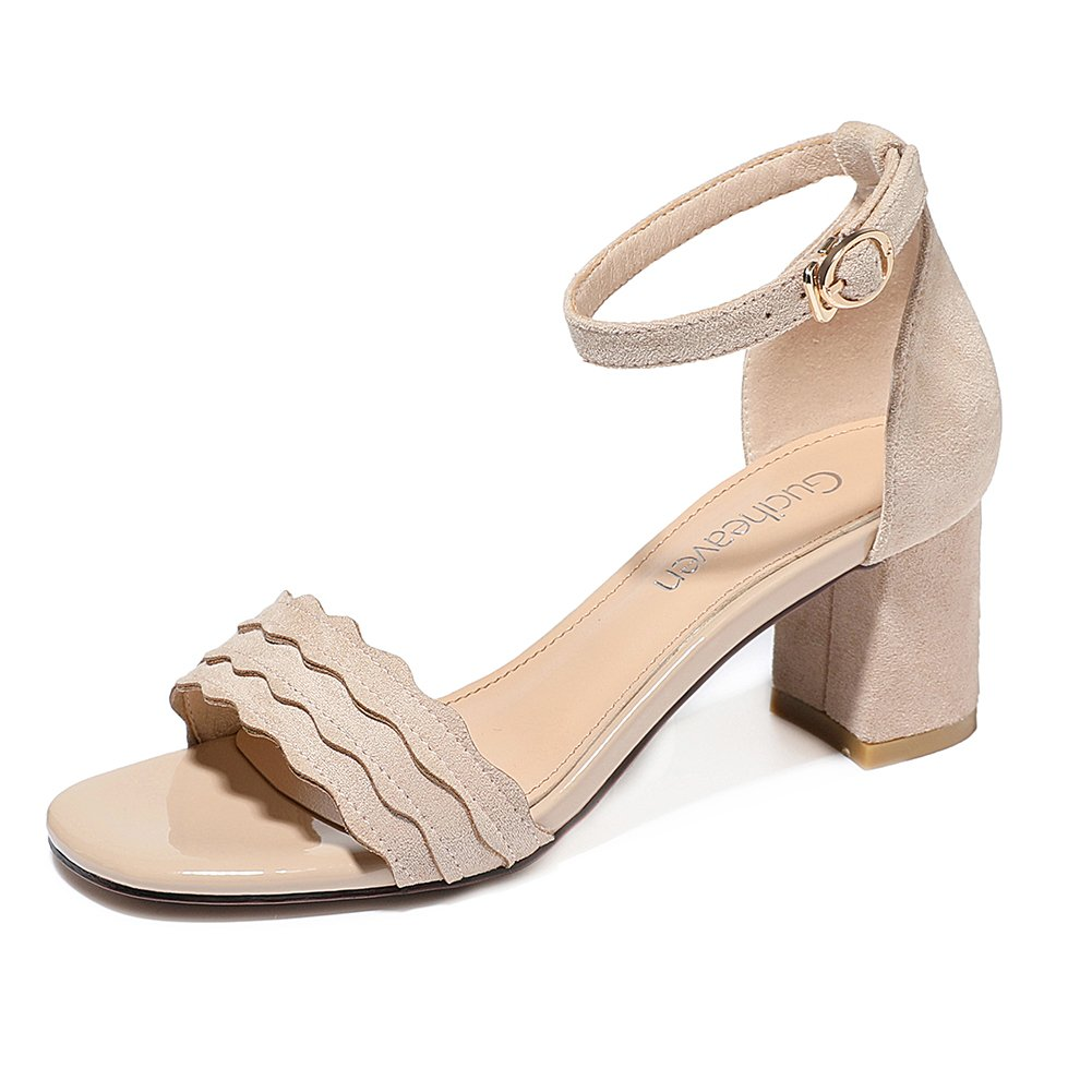 KJJDE Damen Riemchen Wedges Sandalen JZTC-8942 Wildleder Klettverschluss Keilabsatz Schuhe Bequem 5.5CM  37|nude