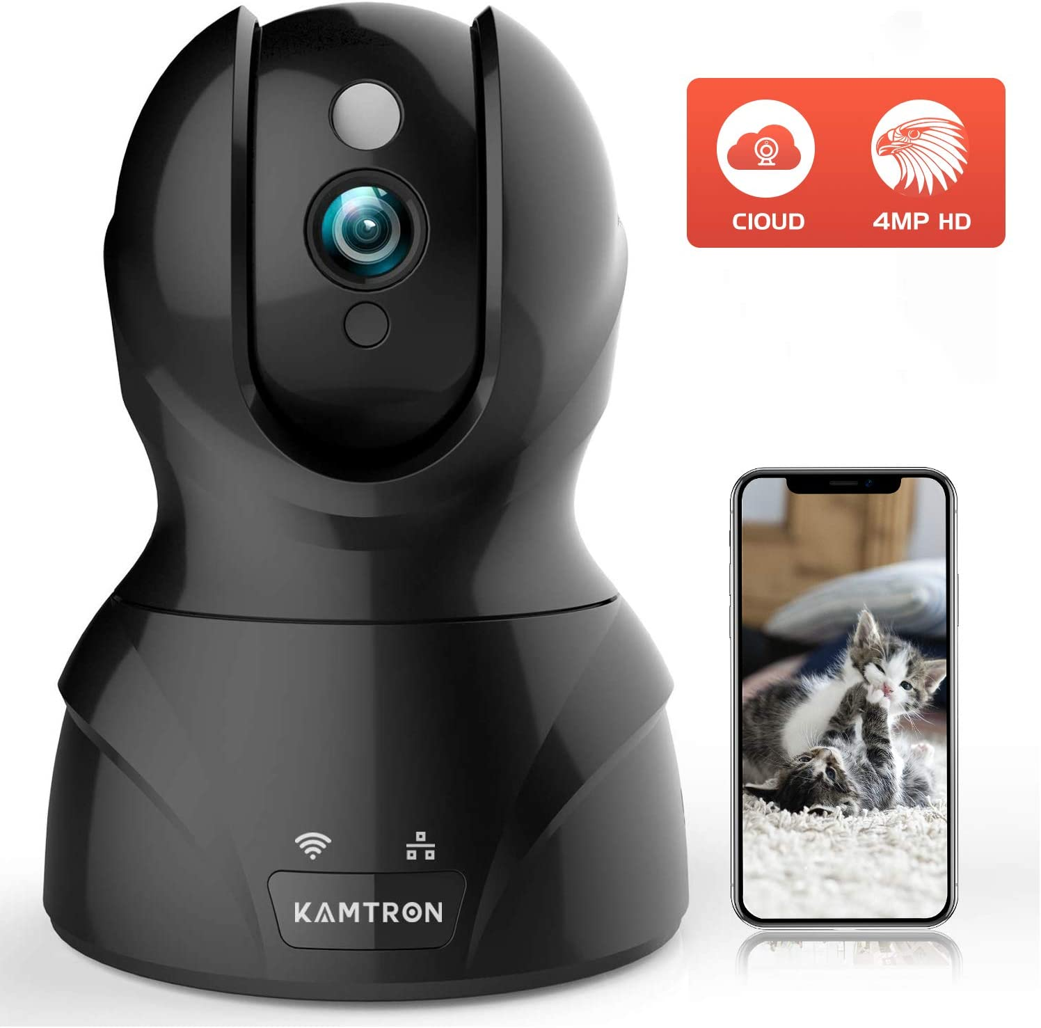 Security Cameras Pet Cameras for Homes – KMARON 4MP HD WiFi Dog Camera Night Vision Pan Tilt Zoom Motion Detection with 2 Way Audio – Cloud Service Available