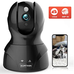 Security Cameras Pet Cameras for Homes - KMARON 4MP HD WiFi Dog Camera Night Vision Pan/Tilt/Zoom Motion Detection with 2 Way Audio - Cloud Service Available