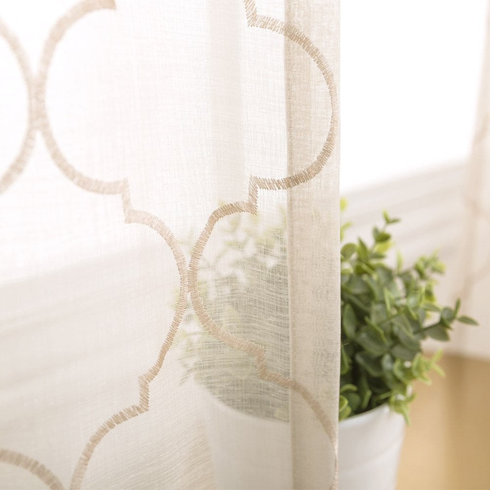 jinchan White Sheer Curtains for Living Room Moroccan Tile Embroidered Window Curtains Lattice Geometric Quatrefoil Embroidery Semi Sheer Curtains for Bedroom 55 x 84 Inch CKNY HOME FASHION MTEMTLS-5584V01 2 Panels