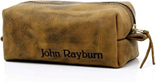 product image for Personalized Leather Toiletry Bag, Dopp Kit, Leather Shaving Kit, Groomsmen, Father's Day Gift, Travel Shaving Bag (Large with Personalization, Distressed Brown)