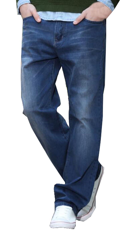 Generic Mens Washed Denim Light Blue Jeans Pants Trousers
