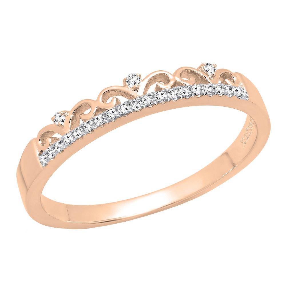 DazzlingRock Collection 0.07 Carat (ctw) 10K Rose Gold Round Diamond Ladies Crown Anniversary Wedding Band (Size 8)