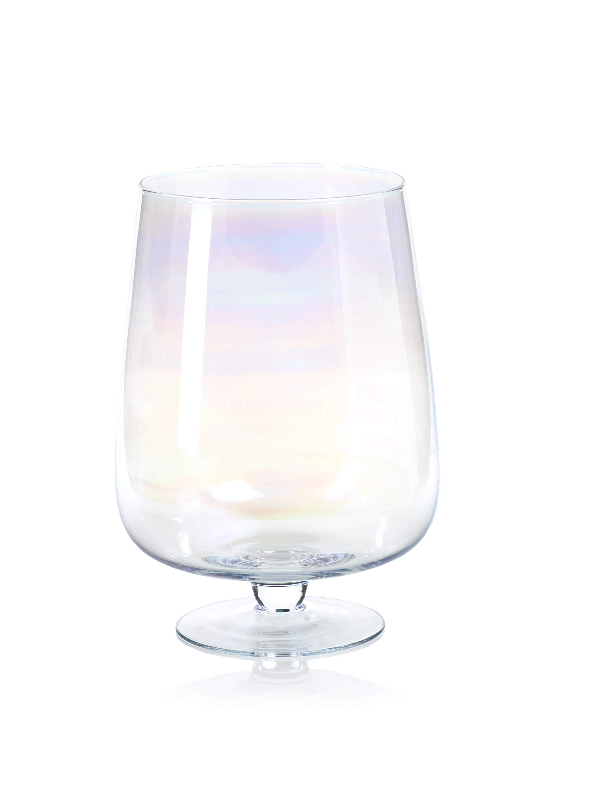 Zodax Shama Pearl Luster Glass Candle Holder, Large Hurricane, Pink