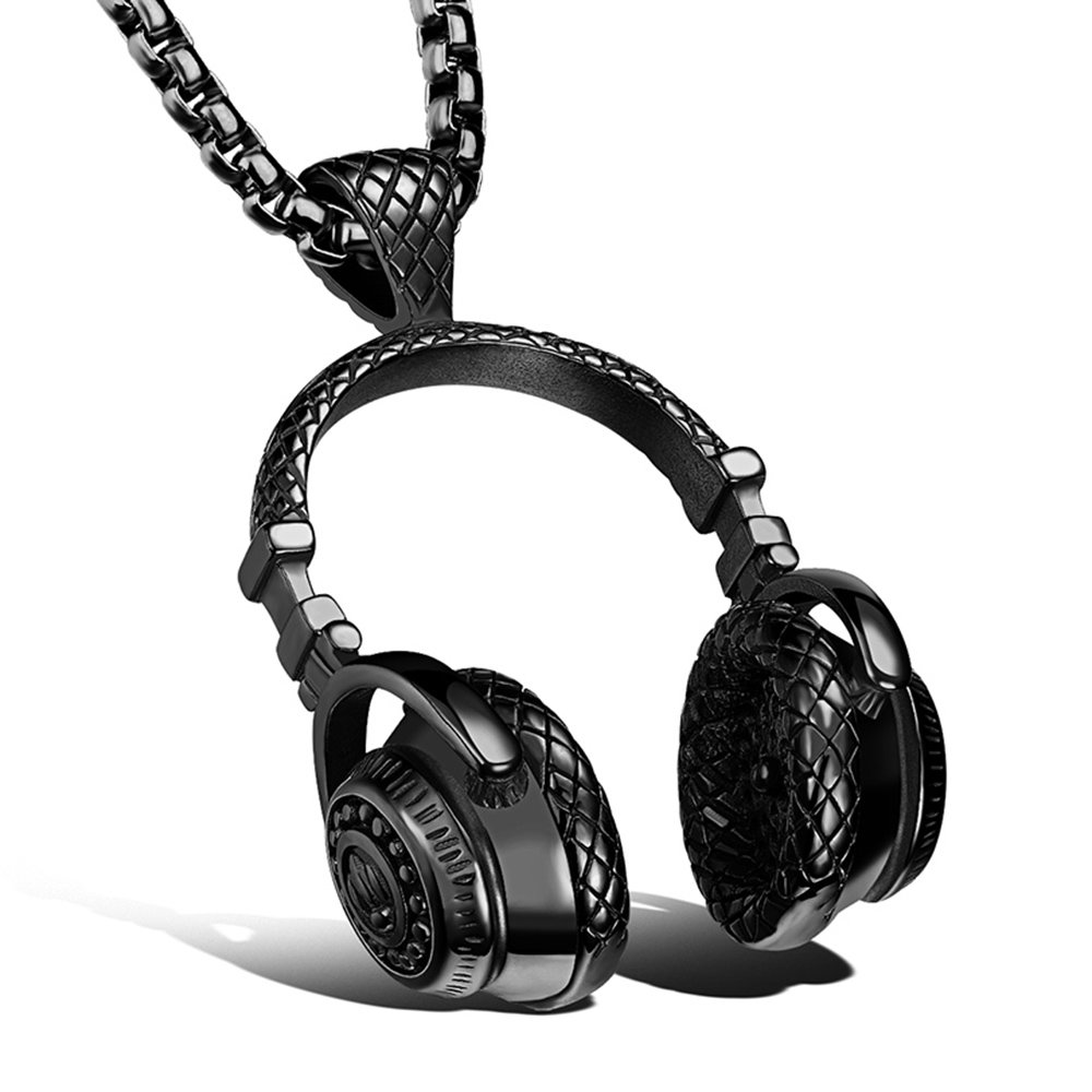 Apopo fashion Stainless Steel Headphone Pendant Necklace for Men (Black2) by Apopo