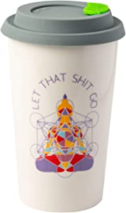 Let That Shit Go Meditating Buddha Ceramic Coffee Travel Mug 12 oz. with Sealed BPA Free Lid - Dishwasher and Microwave Safe - Yoga Coffee Mug - Funny Quote for Yoga Lovers