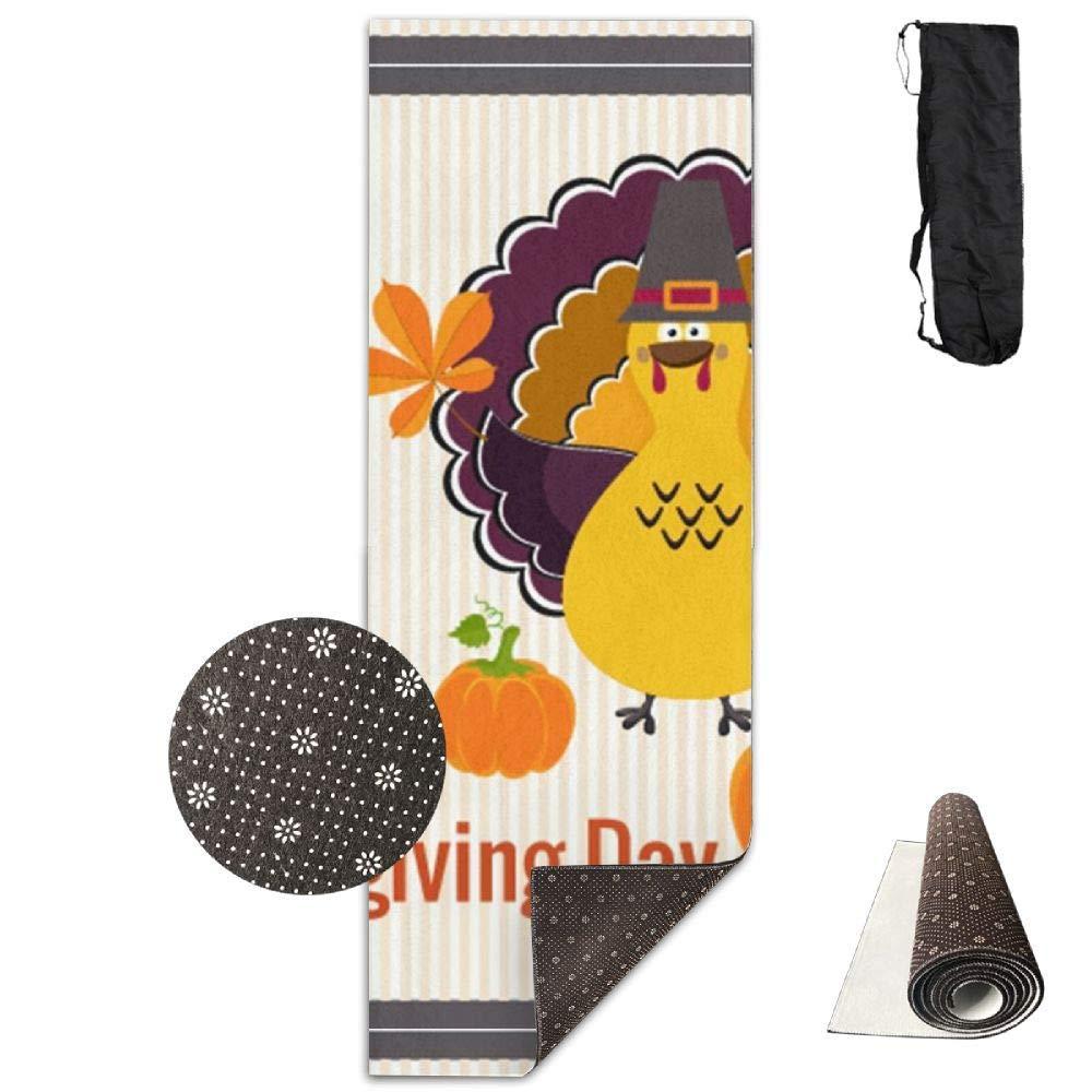 Cute Turkey Thanksgiving and Optimal Cushioning,70''x 28'' Waterproof Yoga Mats Fitness