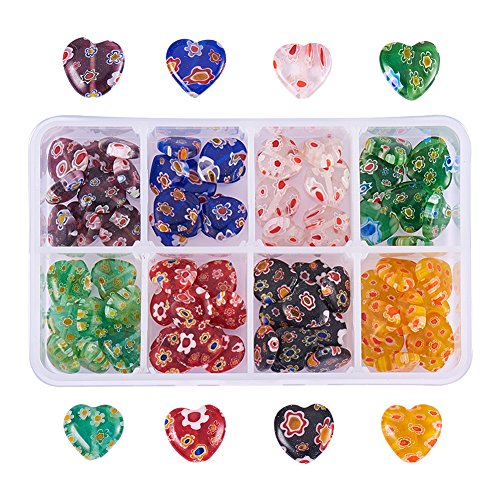 PandaHall Elite 80 Pcs Millefiori Lampwork Flat Heart Glass Beads 8 Styles Length 12mm for Jewelry Making Mixed Colors