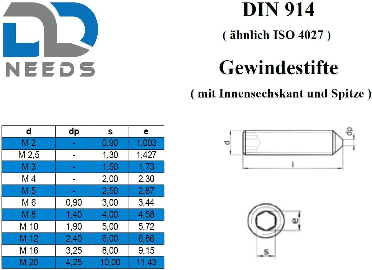 Taille: M3 x 5 mm selon DIN 914 /à six pans creux PU: 20 pi/èces D2D goupille filet/ée vis sans t/ête ISK et embout en acier inoxydable A2 // V2A