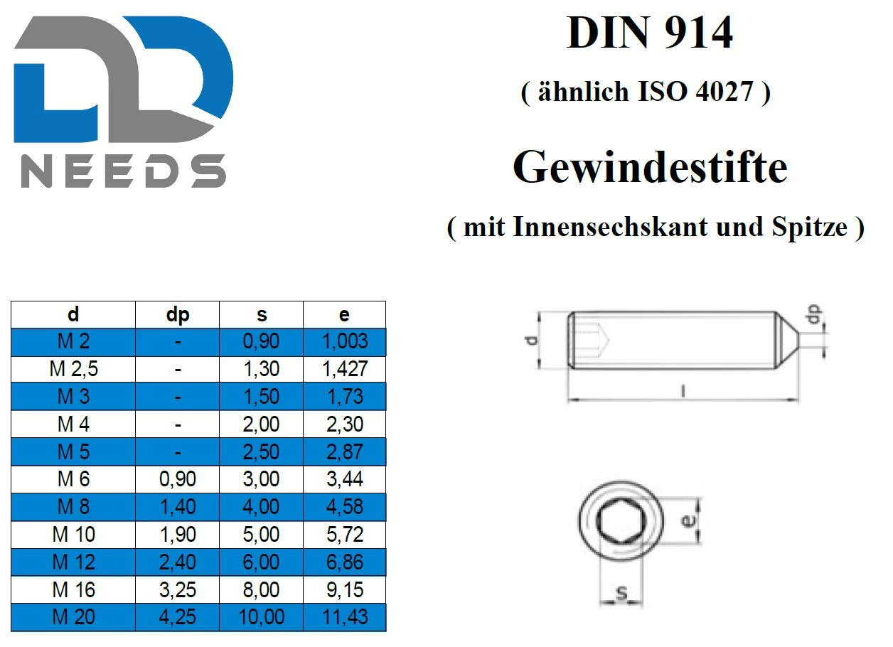 Gewindestifte ISK und Spitze aus Edelstahl A2 // V2A VPE: 10 St/ück Gr/ö/ße: M8 x 35 mm nach DIN 914 mit Innensechskant D2D Madenschrauben