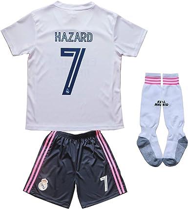 SecenMerch 2020//2021 New Hazard No #7 Real Madrid Away Blue Kids Soccer Jersey Kit Shorts Socks Set Youth Sizes