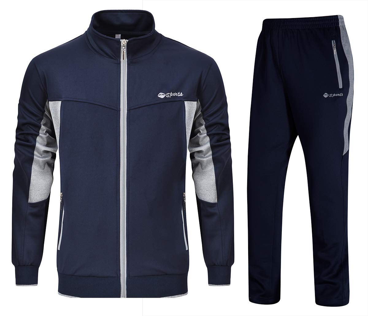 YSENTO Mens Tracksuits Gym Jogging Suits Sports Casual Sweatsuits Full Zip Navy Grey XL by YSENTO