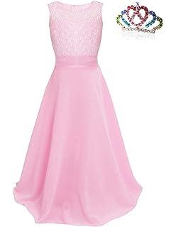 carinacoco Ragazze Pizzo Vestito Lungo Bambina Elegante Principessa Abito  Chiffon Fiore Garza Abiti da Sera Matrimonio e7e5e294588