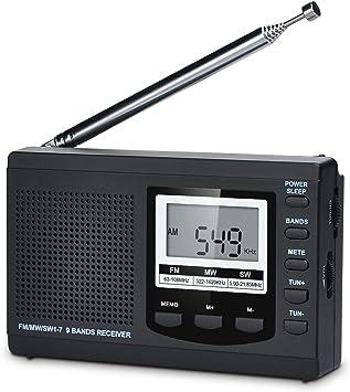 Songway Banda Completa Am/FM/SW DSP Radio Altavoz estéreo Pantalla LCD Reloj Despertador Temporizador de sueño Radio de Bolsillo Demodulación Digital La Mejor recepción con Antena telescópica (Black): Amazon.es: Electrónica