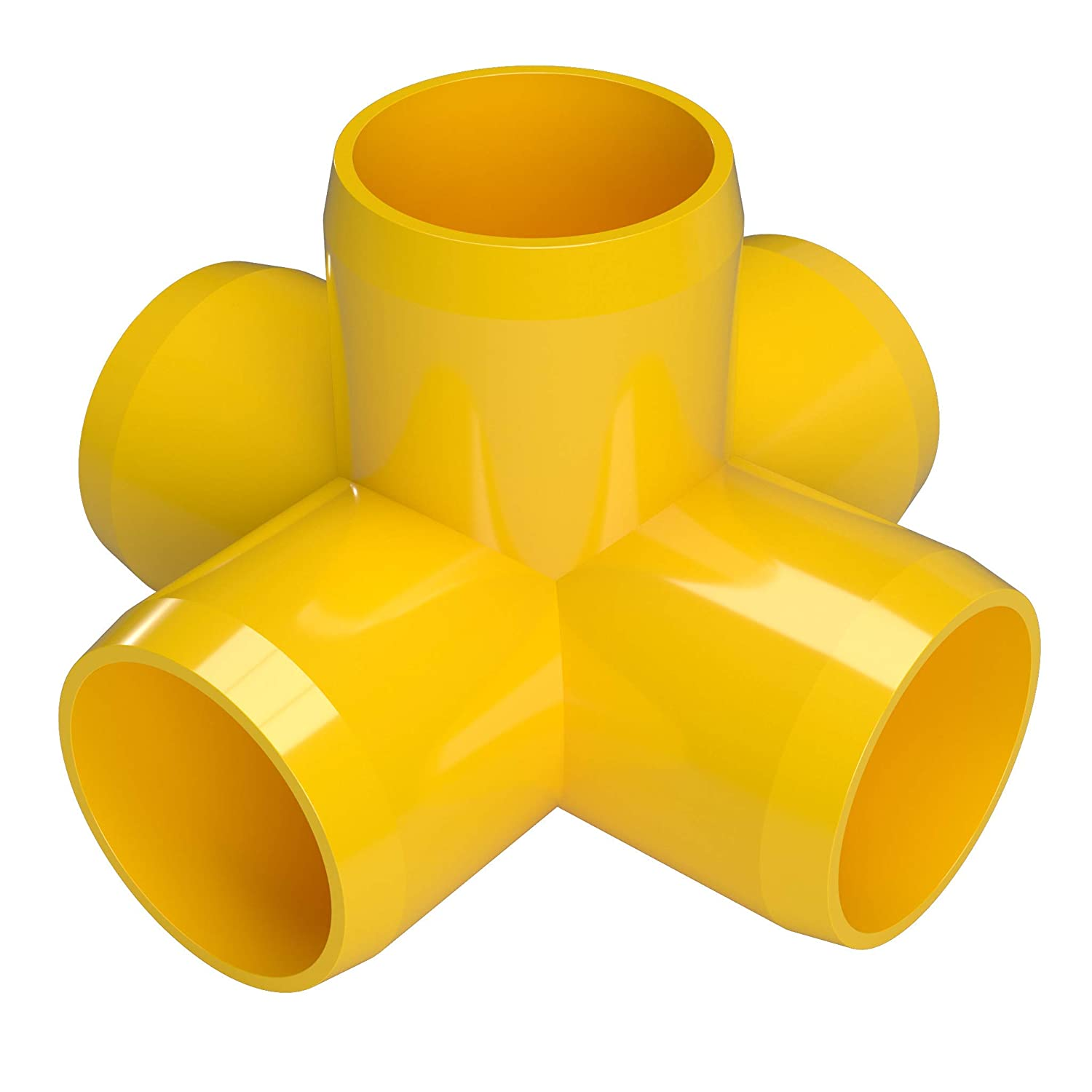 Furniture Grade Pack of 8 Yellow 3//4 Size FORMUFIT F0345WC-YE-8 5-Way Cross PVC Fitting