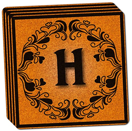 "Custom & Cool {4"" Inches} Set Pack of 4 Square ""Grip Texture"" Drink Cup Coasters Made of Cork w/ Fancy Flower Elegant Style Font Letter H Initial Monogram Design [Colorful Black & Brown]"