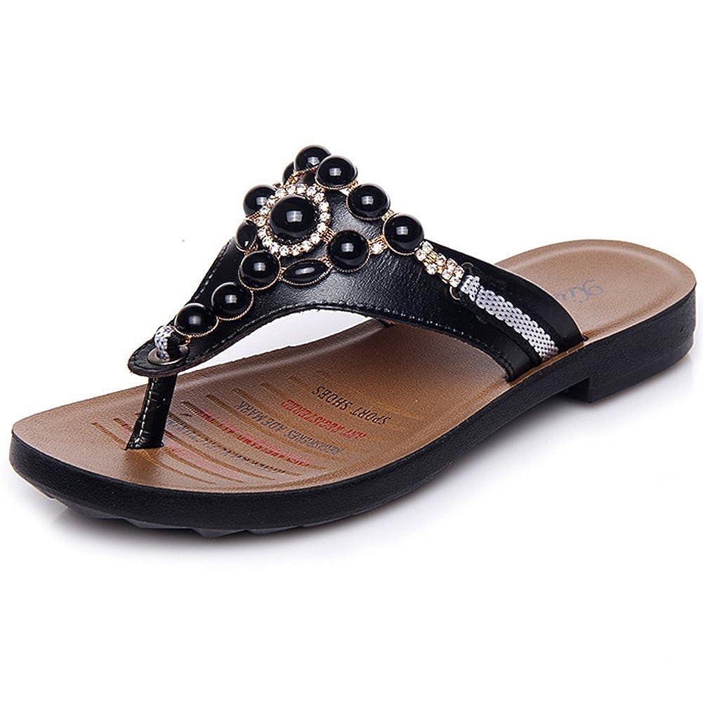 weiwei Ladies Summer Flat Bottom Cool Slippers,Anti-Slip Clamp Toe Flip-Flops
