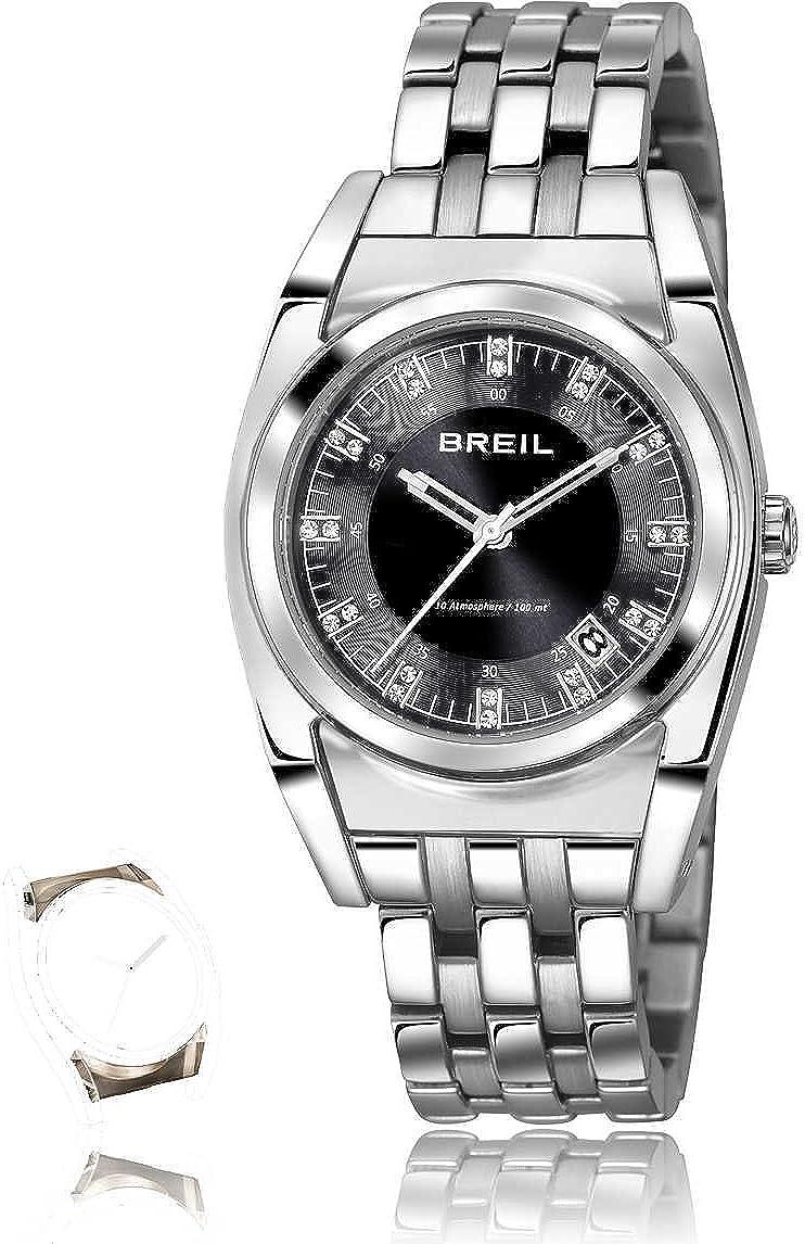 Breil–Reloj de Cuarzo para Mujer con Esfera analógica de Color Negro y Plata Pulsera de Acero Inoxidable tw1065