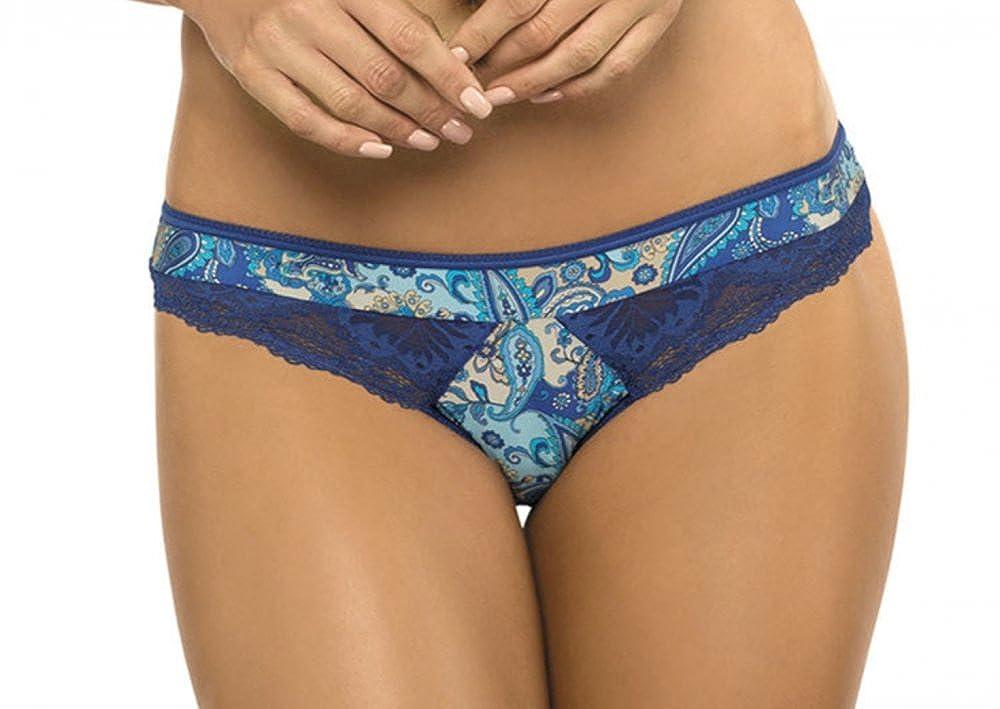 Slip Minislip Cleo türkis blau mit floralem Muster 36 38 40 42 44 46 48