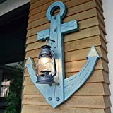 Antique Wood Lamp Kerosene Lantern Mediterranean Theme Restaurant Bar Wall Lamp Creative Rudder Personality Light 700940Mm