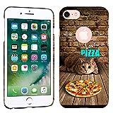 iPhone 7 Case / iPhone 8 Case - Love Pizza Cat Hard Plastic Back Cover. Slim Profile Cute Printed Designer Snap on Case by Glisten
