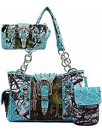 Western Concealed Carry Camouflage Buckle Purse Handbag Shoulder Bag Phone Pocket Wallet 3 IN 1 Set Turq