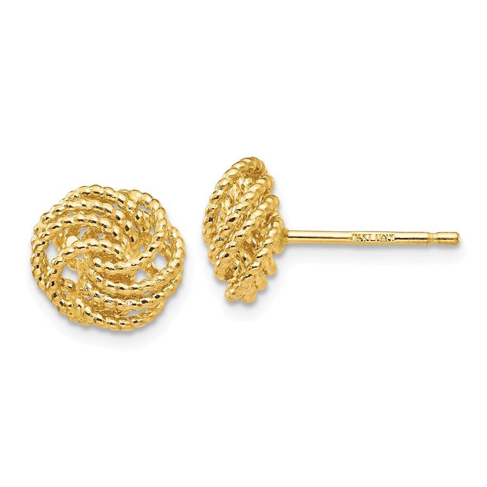 Jewelry Best Seller 14K Diamond Cut Love Knot Post Earrings