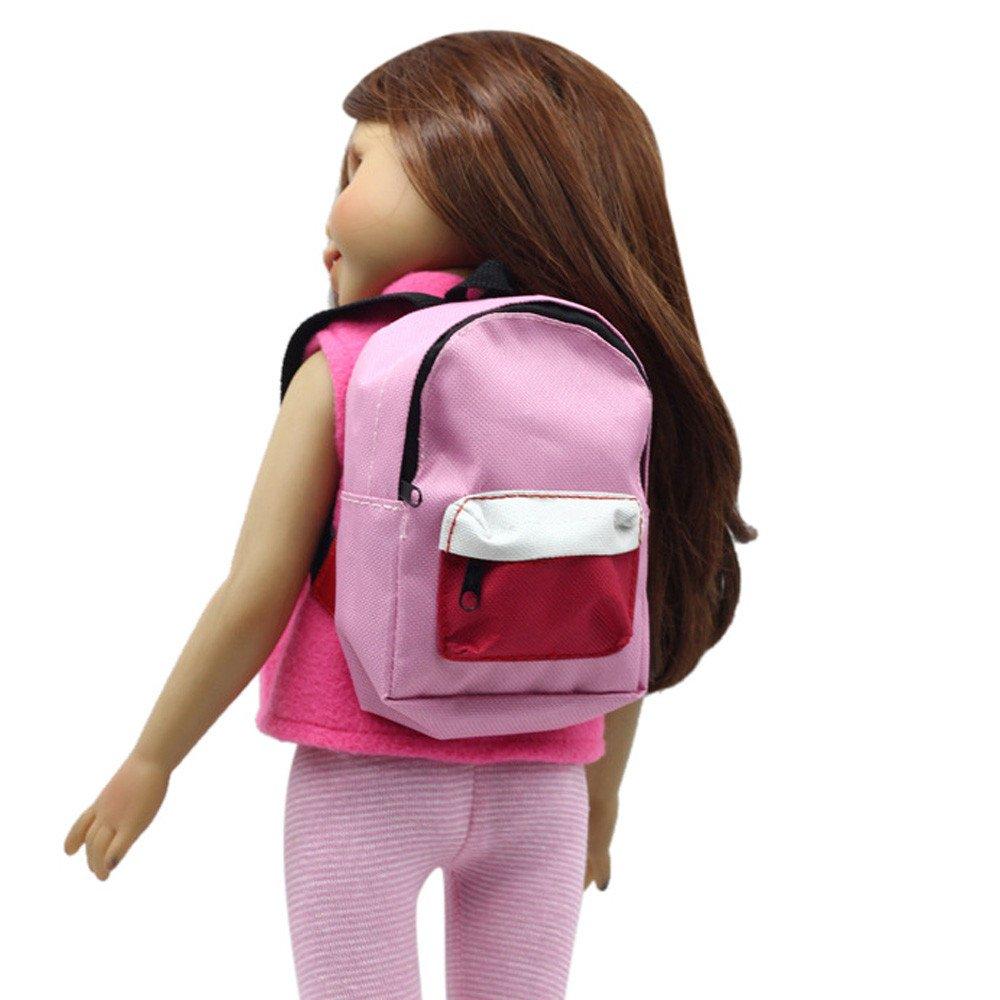 für American Girl Puppe Reißverschlusstasche Rosa, Malloom Doppelgurte Rucksack Schultasche für 18 Zoll Unsere Generation für American Girl Doll