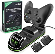 OIVO Xbox One Controller Charger, Fast Dual Charging Station Updated LED Strap, Remote Charger Dock - 2 Rechargeable Battery