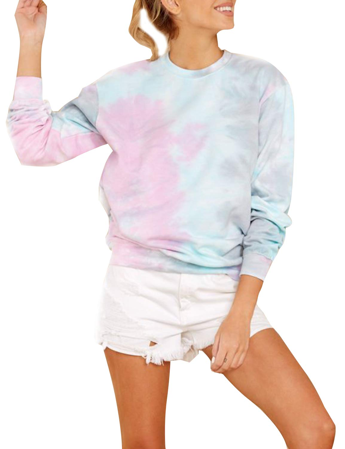 Blooming Jelly Womens Long Sleeve Round Neck Tie Dye Pullover Sweatshirt