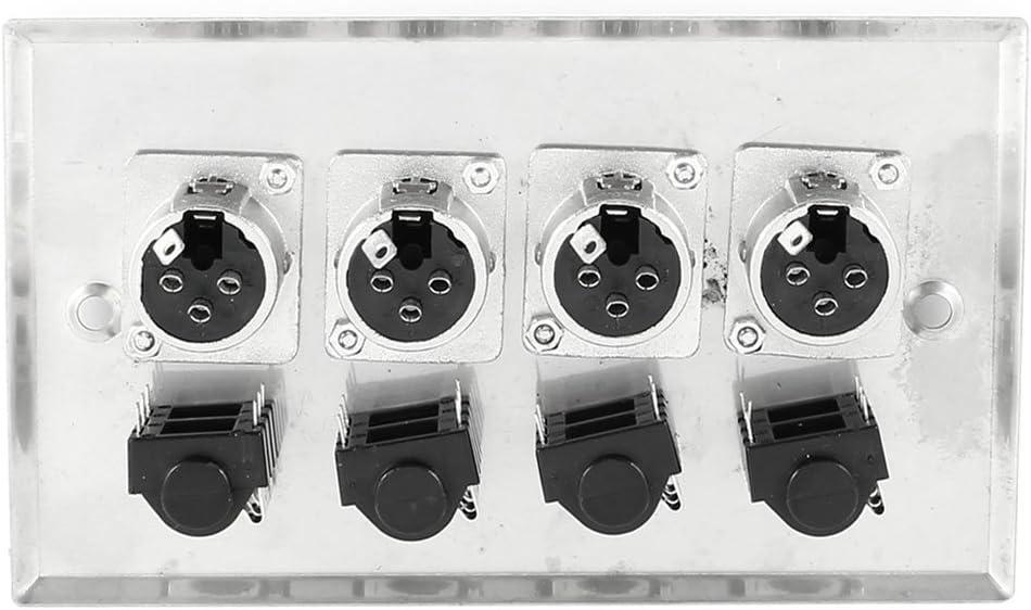 uxcell Speaker Wall Plate Panel 4X XLR 4X 1//4 Inch 6.35MM Socket Jack