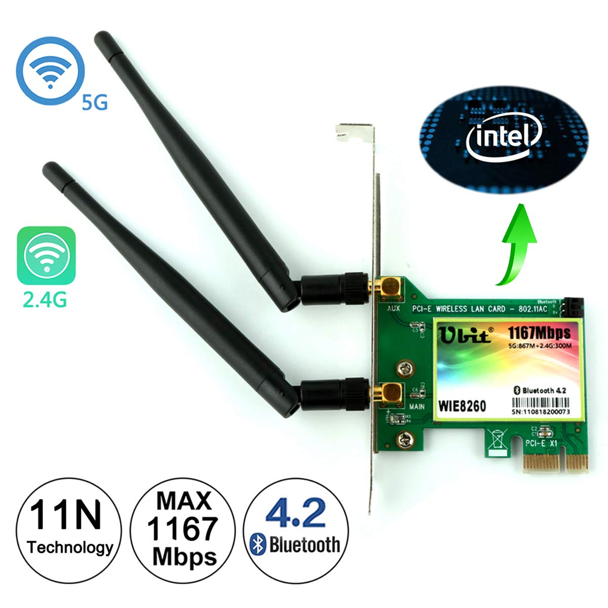 WiFi Card AC 1200Mbps,Wireless Network Card,Ubit 8260 Wireless Network Card with Bluetooth 4.2 Network Server Adapter,Dual-Band 5G/2.4G,PCI-E Wireless WI-FI Adapter Network Card for PC-Shipped From US by Ubit (Image #1)
