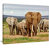 Large Elephant Herd in Africa African Canvas Art Print