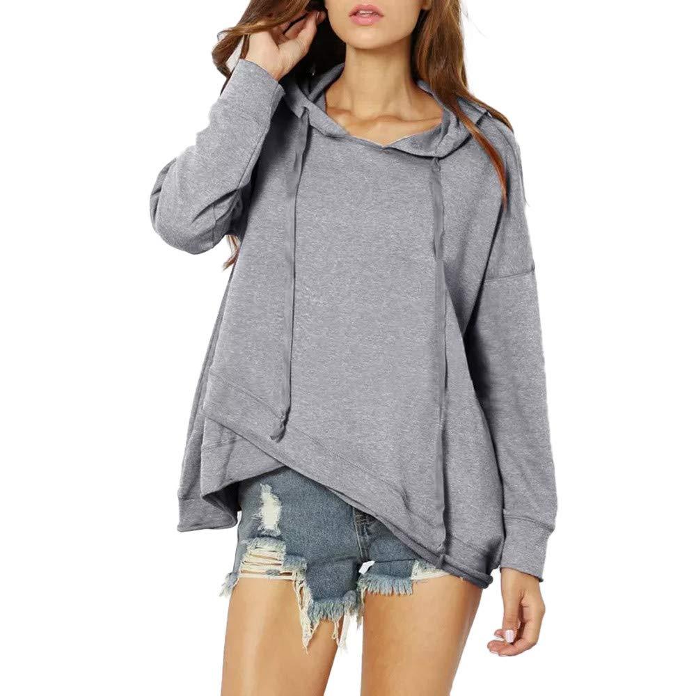 Ulanda Women's Casual Sweatshirt - Autumn Long Sleeve Drawstring Hoodie Pullover Irregular Hem Hooded Shirt Tops