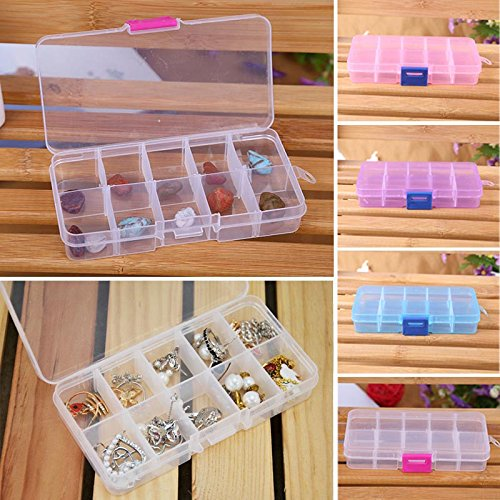 Wffo 10 Grids Adjustable Jewelry Beads Pills Nail Art Tips Plastic Storage Box Case with Adjustable Divider Removable Grid Compartment (A)