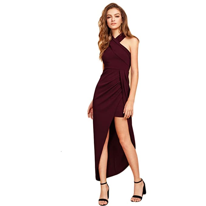 2ffd5b69df2a85 Image Unavailable. Image not available for. Color  HQeTDRJE Women  Crisscross Front Sexy Sleeveless Asymmetrical Long Dress