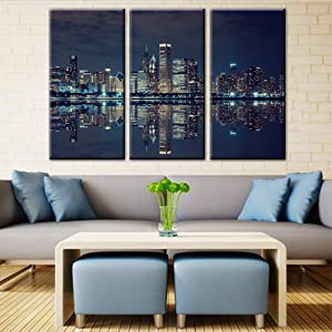 TUMOVO Chicago Downtown at Night Picture Canvas Print - Modern City Skyscrapers Wall Art Home Decor- Large 3 Panels Framed Artwork for Office Living Room Wall Decoration(40'' x 20'' x 3 Panels)