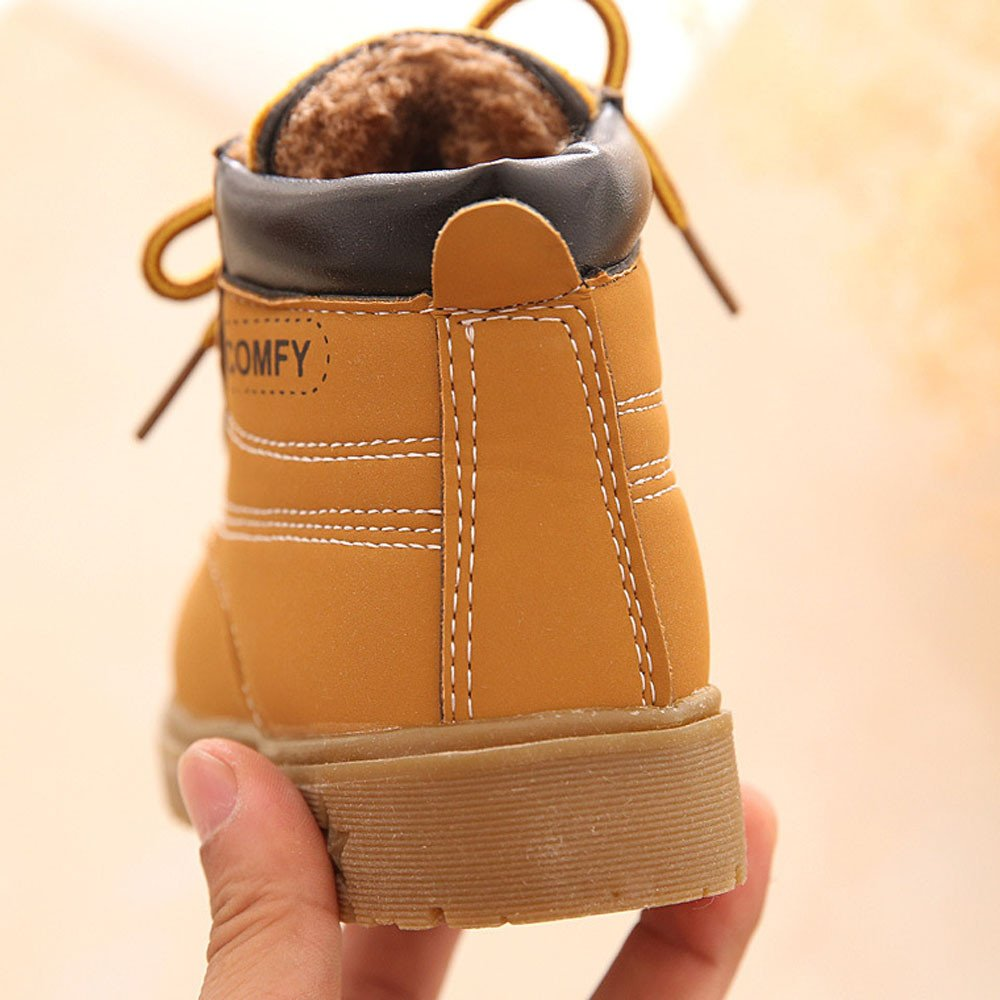 Anxinke Baby Toddler Boys Girls Autumn Lace-up Casual Leather Ankle Boots