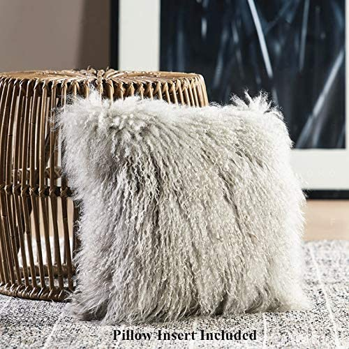 100 Real Mongolian Lamb Fur Curly Wool Throw Pillow Cushion with Insert Decorative Pillow for Living Room Bedroom Car,Pillow Insert Included,18x18in,Light Gray