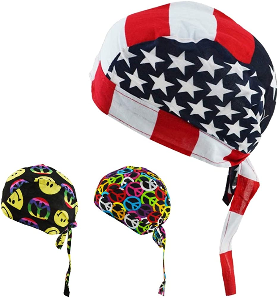 Cooling Helmet Liner Cycling Hat Sweat Wicking Skull Caps Sweatband Beanie Bandana Head Wrap Breathable Doo Rag Chemo Cap Quick Dry American Flag Durag Headbands for Men Women Pack of 3