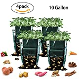 Potato Grow Bags, 10 Gallon Garden Planter Plant Growing Bag with Flap and Handles Heavy Duty and Durable Potato Pots for Vegetables, Fruit, Carrot, Tomato, Onion, 4 Pack For Sale