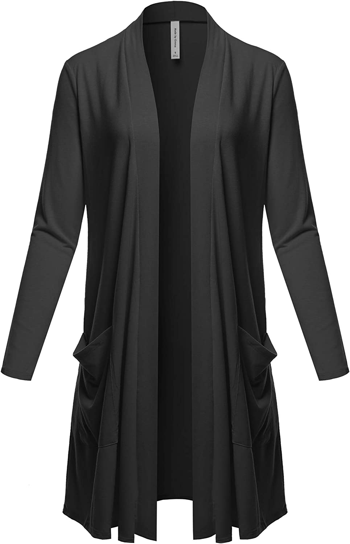 Women's Casual Long Sleeve Pocket Open Front Knit Cardigan