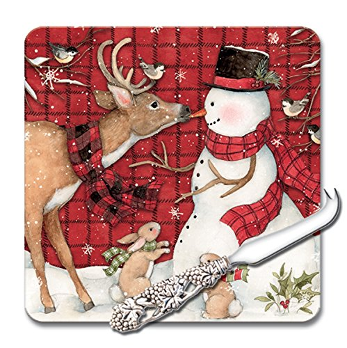 CounterArt 8-Inch Glass Cheese Serving Board with Cheese Knife, Plaid Snowman with Woodland -
