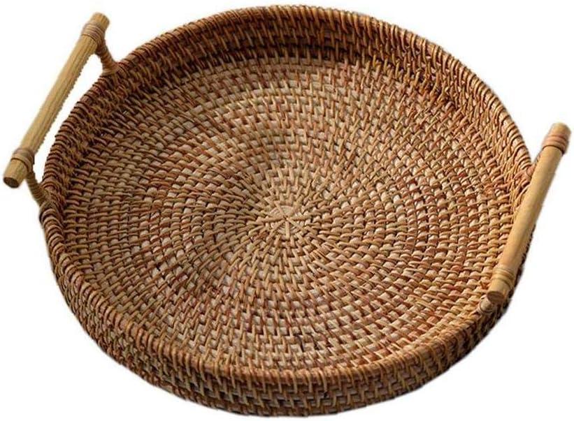 Woven Rattan Fruit Baskets Round Rattan Bread Storage Tray Wicker Basket for Serving Food Crackers Snacks Breakfast Display (28x7cm)